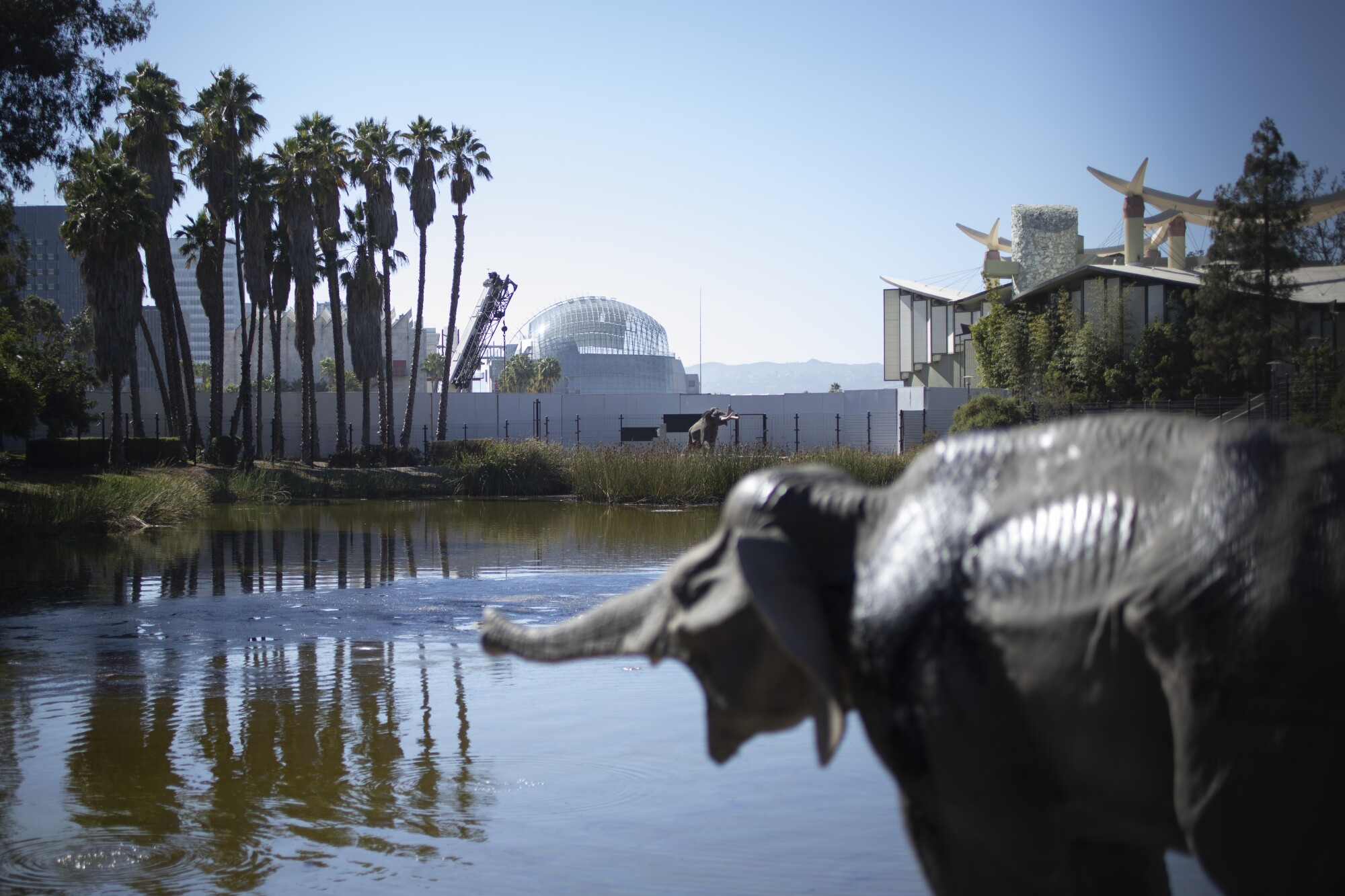 The spherical form of the Geffen Theater is seen in the distance, beyond the Lake Pit and a sculpture of a baby mammoth