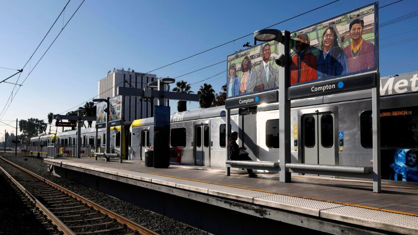 COMPTON, CALIF. -- THURSDAY, FEBRUARY 1, 2018: The Metro Blue Line station with the Civic Center Pla