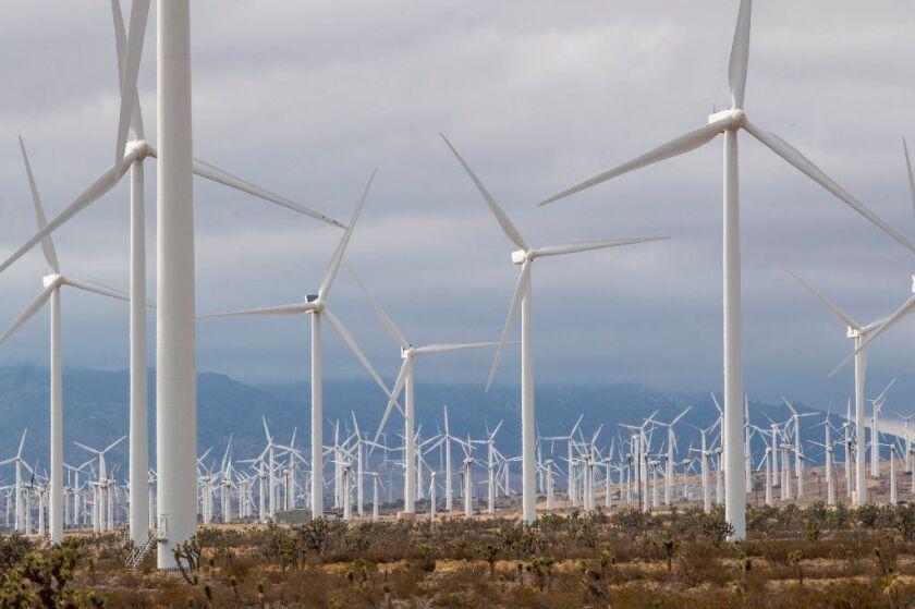 Wind turbines in the Tehachapi-Mojave Wind Resource Area in Kern County on Jan. 8, 2019.