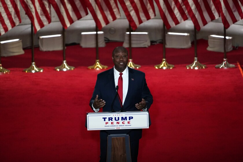 Sen. Tim Scott of South Carolina speaks during the Republican National Convention on Monday.
