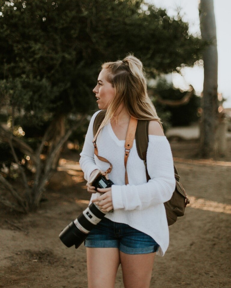 Emma Hopp, 25, out shooting on location. The Vista photographer, who has 20,000 followers on Instagram, specializes in candid wedding photography.