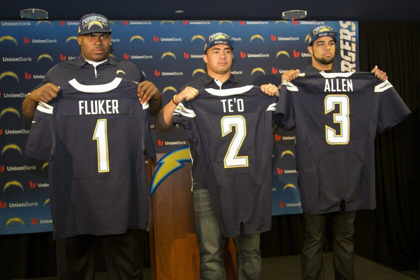 The newest players to the San Diego Chargers,(from left) D.J. Fluker, Manti Te'o and Keenan Allen. The three players were introduced to sports reporters at a press conference held at Chargers Park Saturday afternoon.