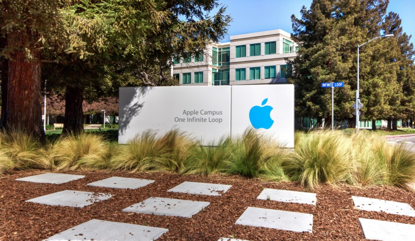 Not far from Apple's Cupertino, Calif., headquarters are spartan offices for contract workers that share little in common with the main campus.