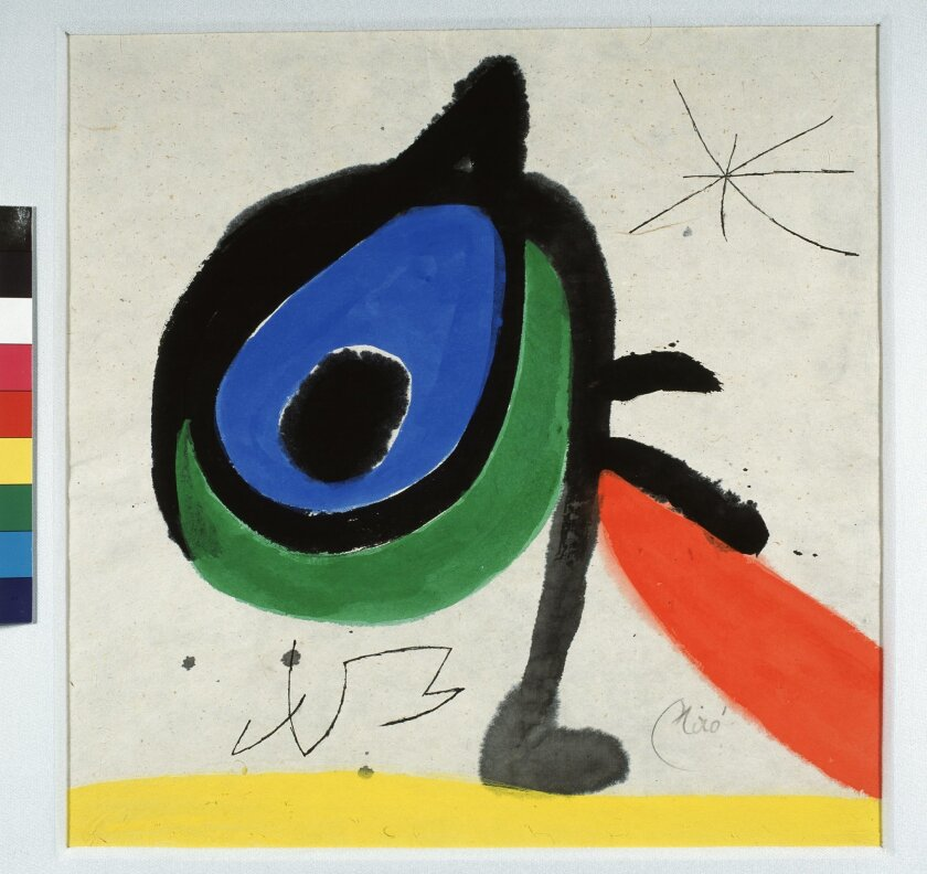 Untitled, India ink and gouache on Japanese paper, by Joan Miró, 1974.