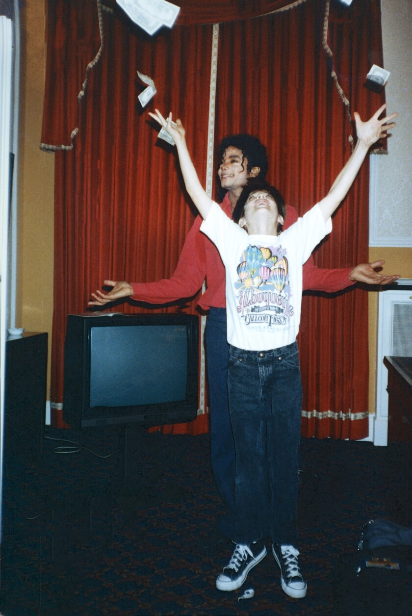 """Michael Jackson with James Safechuck in """"Leaving Neverland"""""""