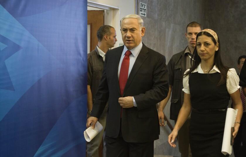 Israeli Prime Minister Benjamin Netanyahu arrives for the weekly Cabinet meeting in Jerusalem.