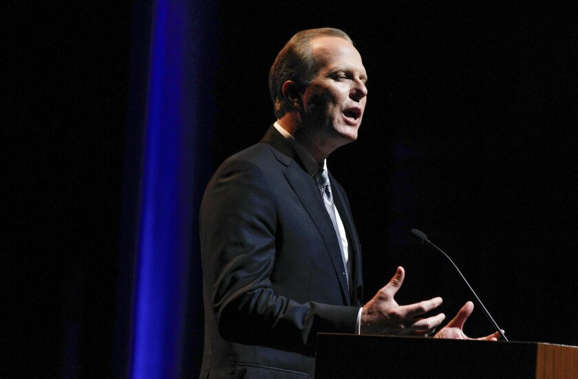 San Diego Mayor Kevin Faulconer speaks during the State of the City Address at the Balboa Theater in San Diego on Thursday.
