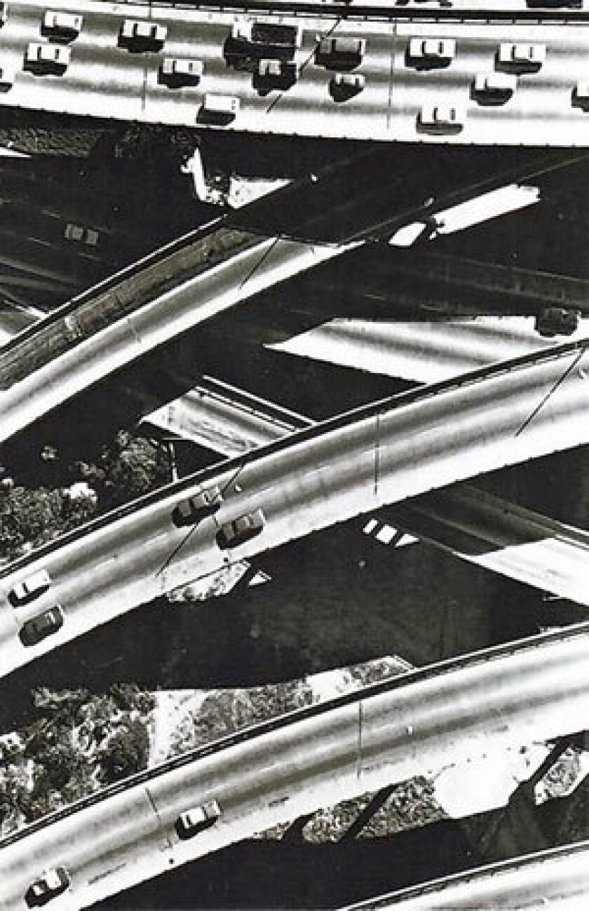 """The interchange of Interstates 5 and 10 in Los Angeles, from the book """"The Big Roads: The Untold Story of the Engineers, Visionaries and Trailblazers Who Created the American Superhighways"""" by Earl Swift."""