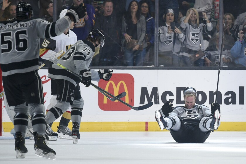 Kings center Jeff Carter celebrates immediately after scoring a go-ahead goal.