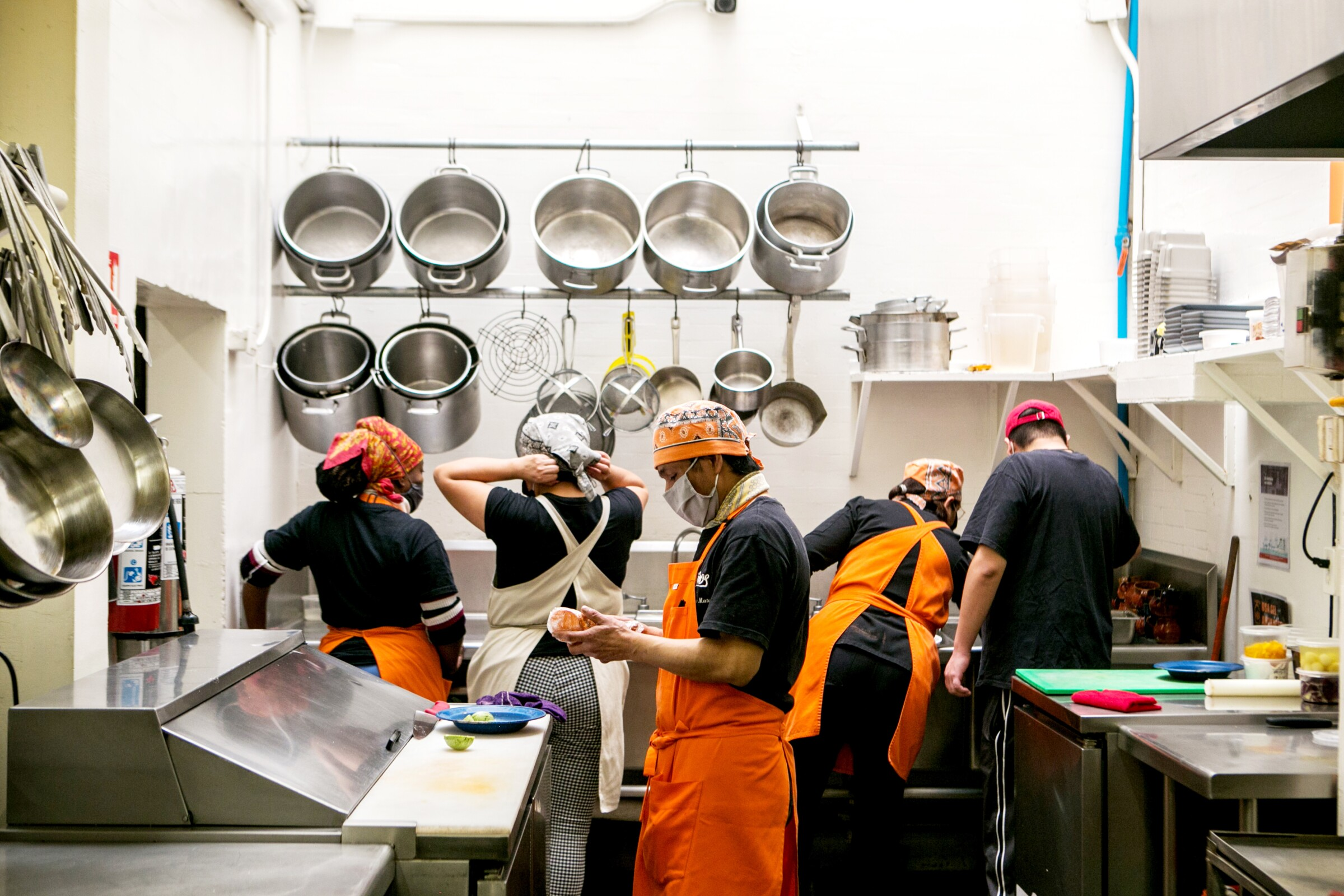 Cooks at Nico's restaurant in Mexico City