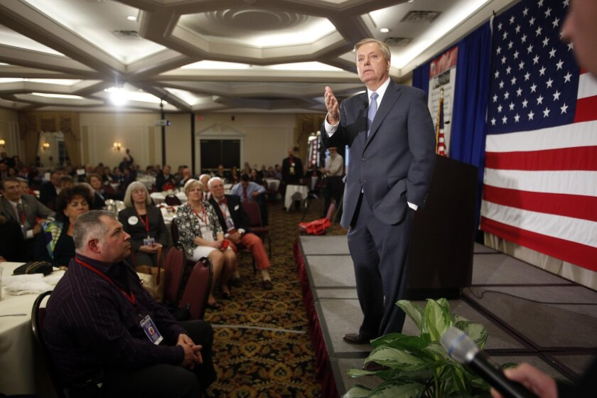 Sen. Lindsey Graham (R-S.C.) speaks at the Republican Leadership Summit in April in Nashua, N.H. He plans Monday to announce his bid for the party's presidential nomination, joining a crowded field.