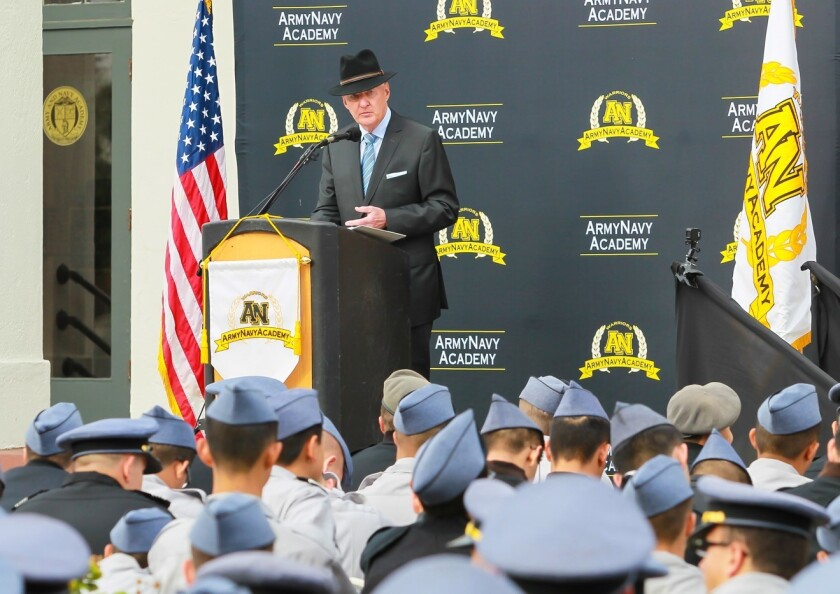 Retired Gen. William Crouch recently spoke at the Army and Navy Academy.
