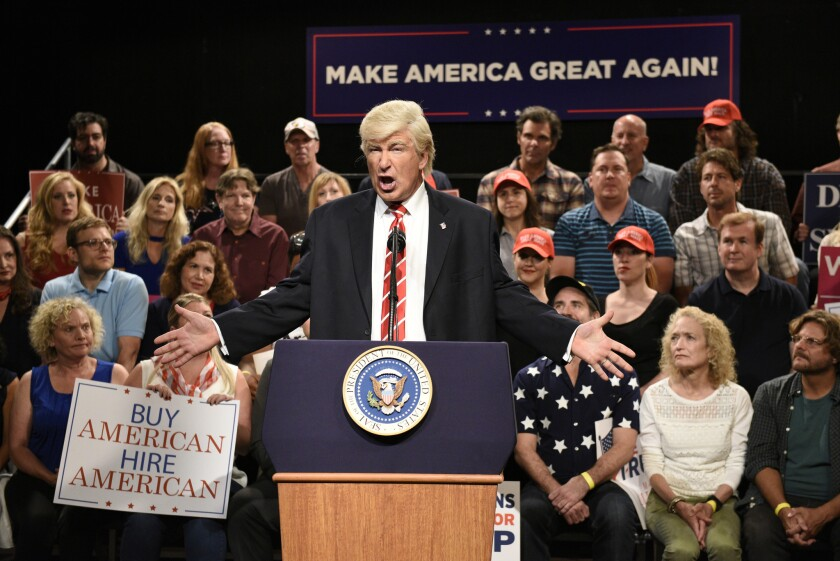In this Aug. 24, 2017, photo provided by NBC, Alec Baldwin performs his impression of President Dona