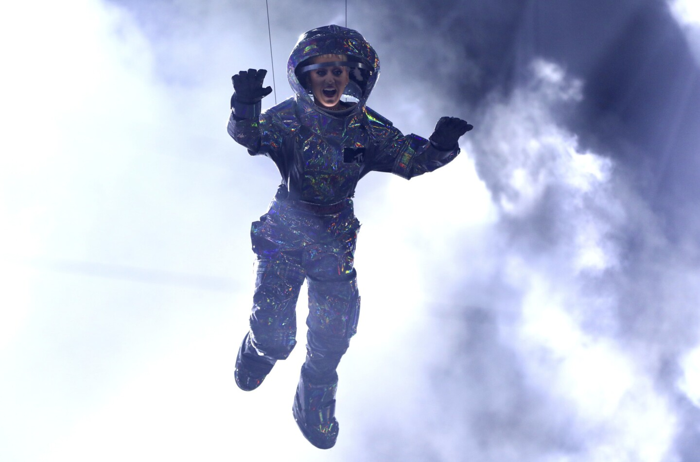 Host Katy Perry is lowered onto the stage at the MTV Video Music Awards at the Forum in Inglewood.