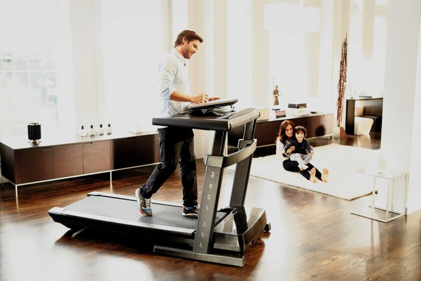 Replace your desk with a treadmill for work-at-home fitness.