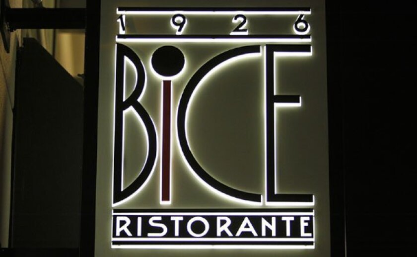 Bice Ristorante is located at 425 Island Ave., in the Gaslamp Quarter.
