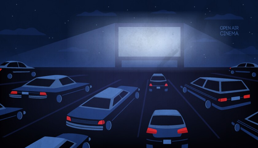 Illustration of a drive-in movie