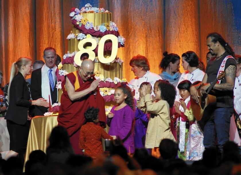 The 14th Dalai Lama at the Global Compassion Summit in Anaheim for the Nobel Peace Prize winner's 80th birthday celebration. The Dalai Lama's actual birthday is Monday. Organizers chose the early celebration to coincide with his birthday in Tibet.