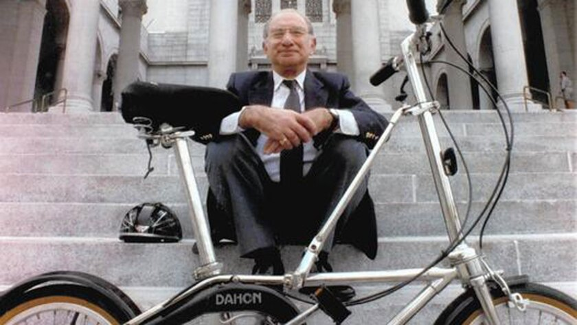 Bicycling advocate Alex Baum, shown in 1993, was head of Los Angeles' Bicycle Advisory Committee for more than 30 years.