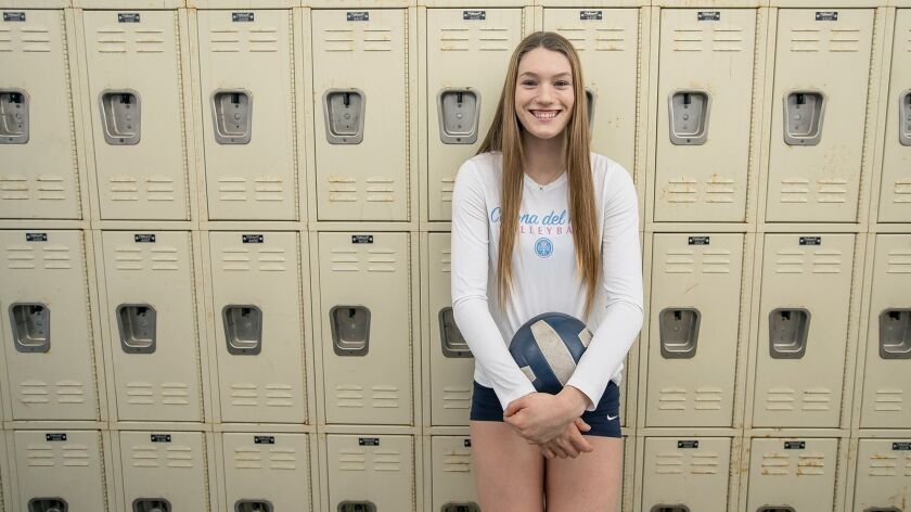 The girls' volleyball player of the year is Corona del Mar's Kendall Kipp.