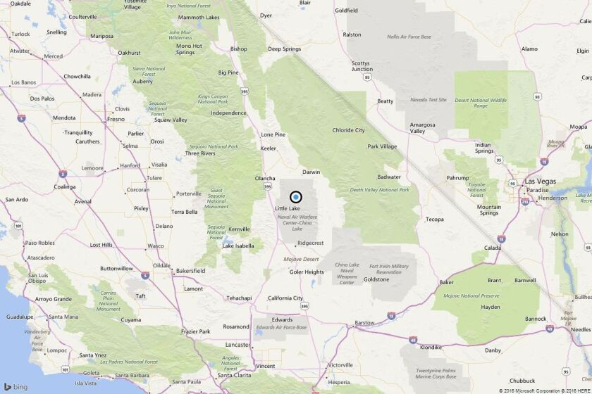 A map showing the location of the epicenter of Tuesday morning's quake near Searles Valley, Calif..