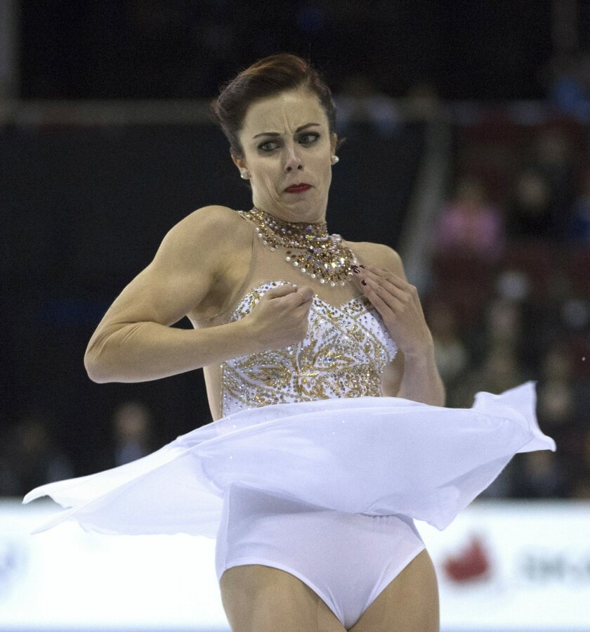 Ashley Wagner of the United States skates during the ladies free skate at Skate Canada International in Lethbridge, Alberta., Saturday, Oct. 31, 2015. (Jonathan Hayward/The Canadian Press via AP)