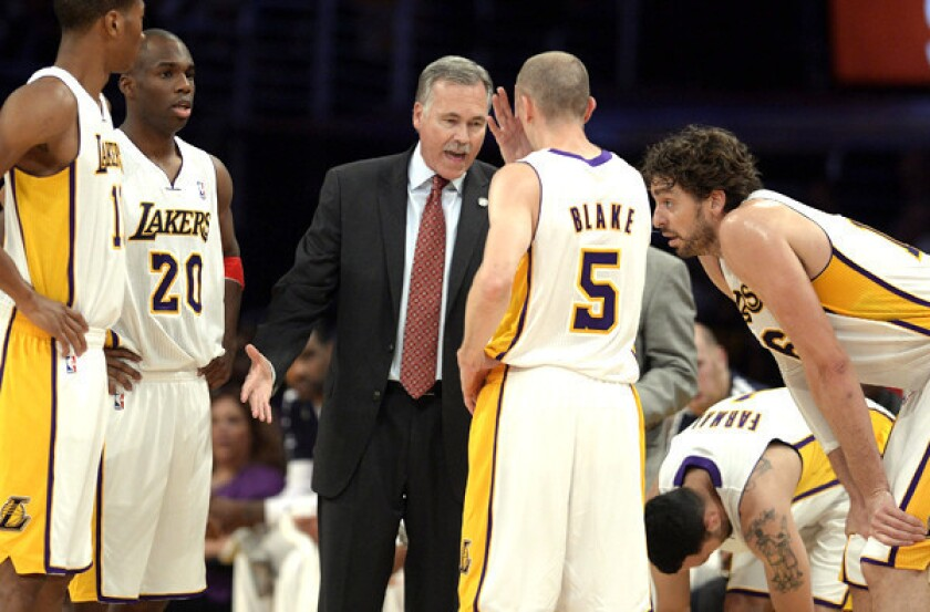 No Kobe, no Nash? No problem for Coach Mike D'Antoni, who has guided the Lakers to a winning record without its starting backcourt.