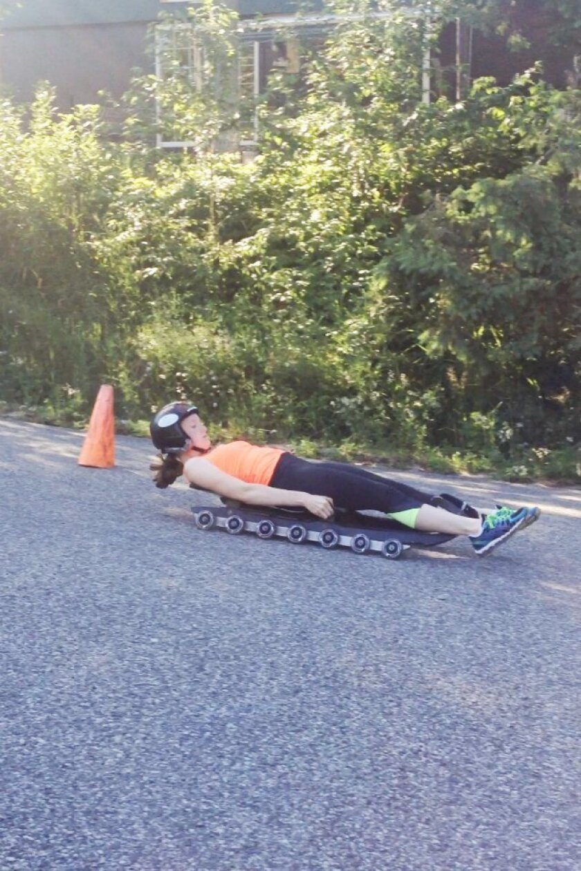 Joan Kemper — USA Luge Practice Run. Lake Placid, NY. Photo courtesy of Lucy Kemper