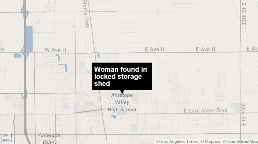 Woman found in storage shed