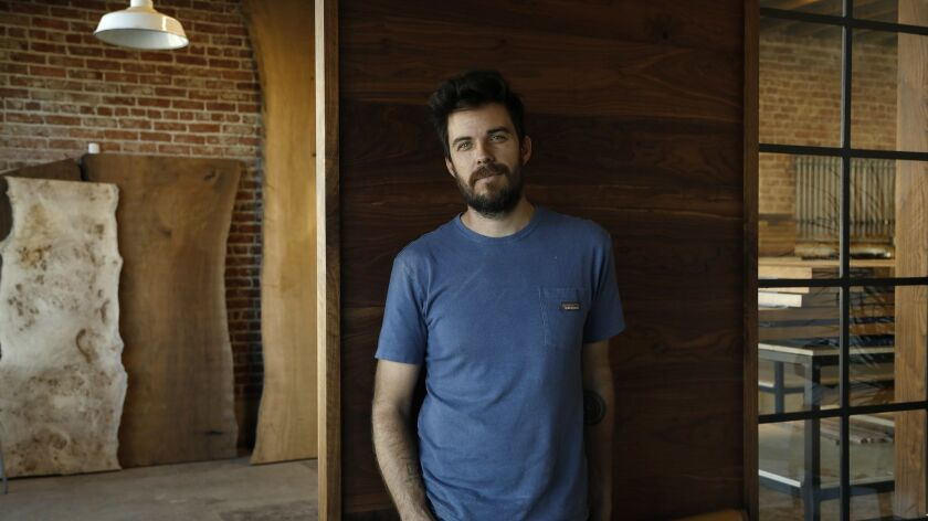 PASADENA, CA-OCTOBER 11, 2018: Furniture maker Josh Jackson in his Pasadena wood shop, Arbor Exchang