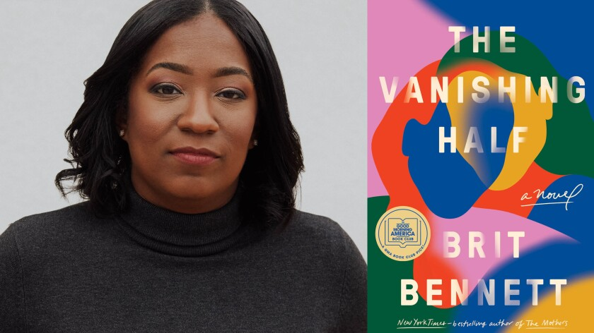 "Author Brit Bennett and the cover of her book ""The Vanishing Half"""