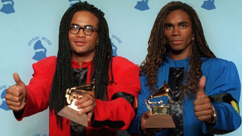 Milli Vanilli's Rob Pilatus, left, and Fab Morvan were stripped of their Grammy for Best New Artist after it was learned they didn't sing on the duo's hit album.