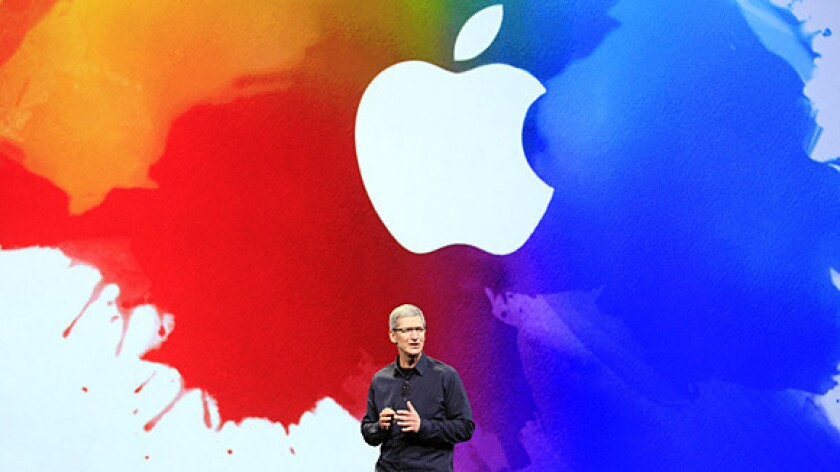 Apple Chief Executive Tim Cook speaks during the company's iPad event in San Francisco on March 7.