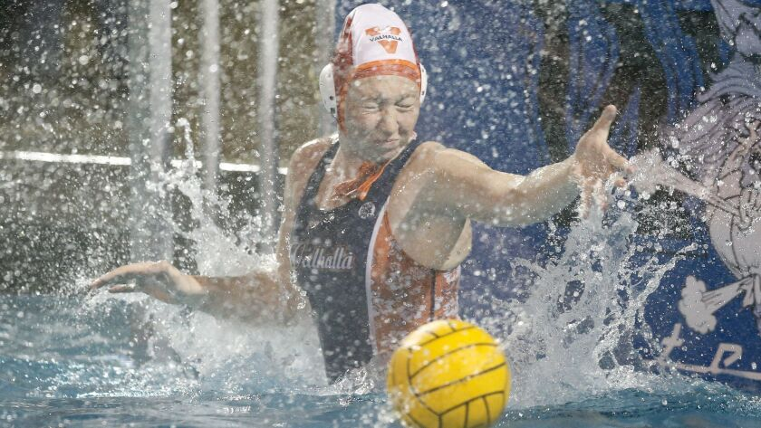 Valhalla High girls water polo goalkeeper Zoe Johnson became the San Diego Section saves leader during her game against West Hills on Wednesday.