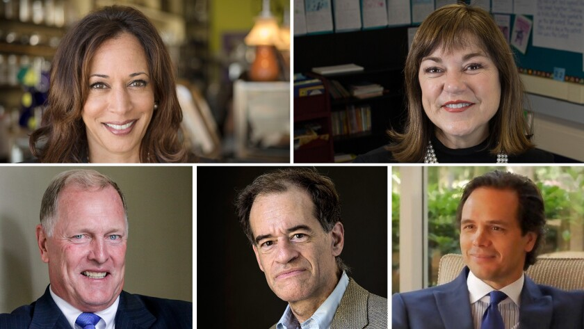 "Clockwise from top left: California Atty. Gen. Kamala Harris, U.S. Rep. Loretta Sanchez (D-Orange), former state Republican Party Chairman Tom Del Beccaro, businessman Ron Unz and former state Republican Party Chairman George ""Duf"" Sundheim."