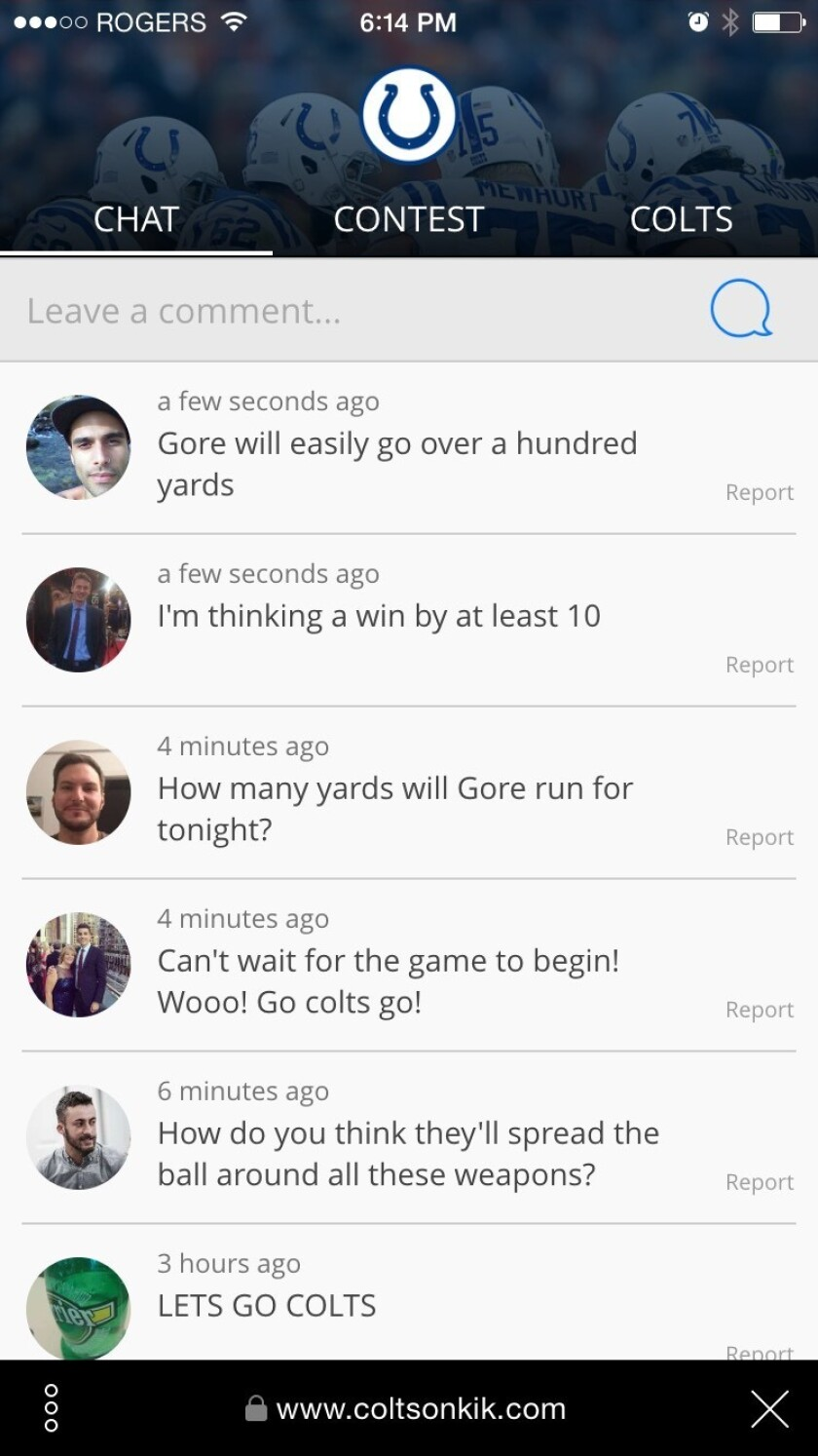 The NFL's Indianapolis Colts launched a page on the chat app Kik this week to provide young fans with a place to learn about what it takes to be a football player, see information about the team and chat with other fans.