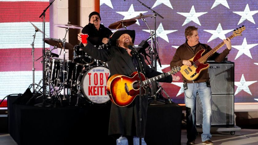 Toby Keith performs during Thursday's Make America Great Again! Welcome Celebration at the Lincoln Memorial.