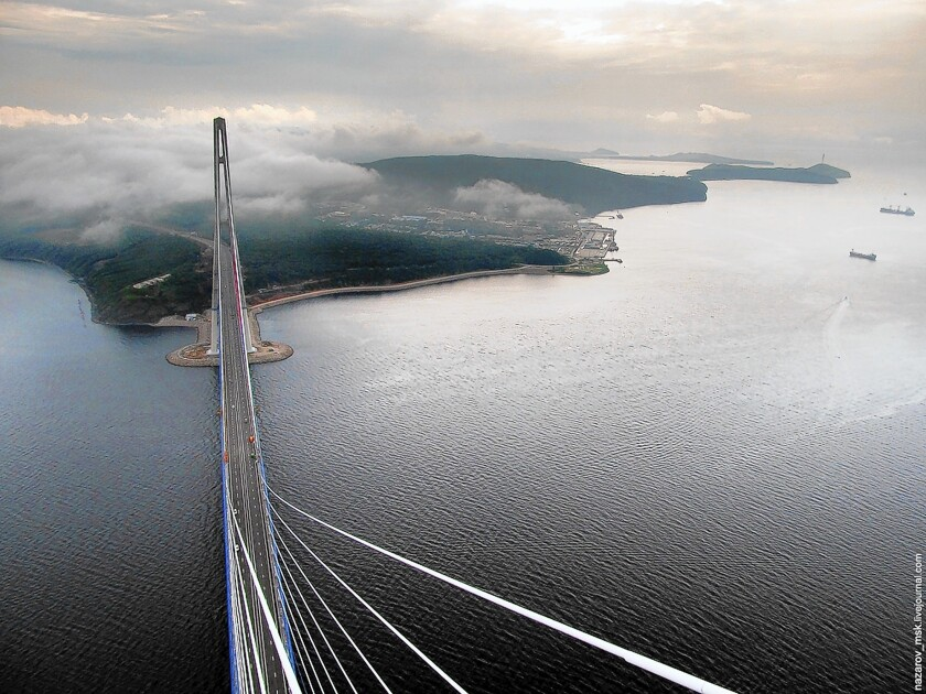 The view from the highest point of the $1-billion bridge connecting Vladivostok with Russky Island.