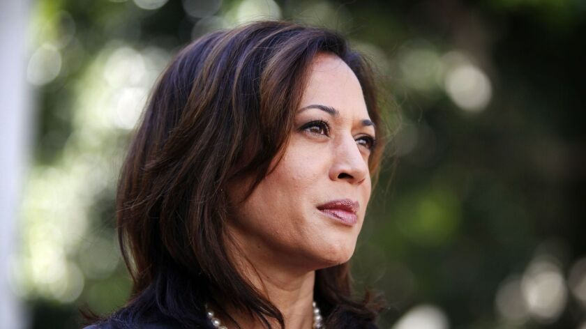 Democratic candidate for state attorney general Kamala Harris attends a news conference to announce an elementary school truancy initiative for Los Angeles in front of L.A. City Hall on Oct. 11, 2010.
