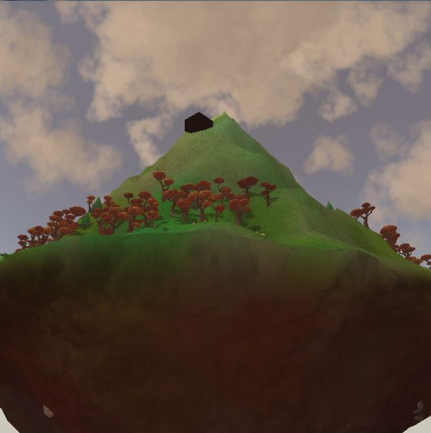 David OReilly's new video game requires the player to sit and observe a mountain. This may sound boring. It's not. Above, a view of the mountain generated by the game's engine specifically for me.