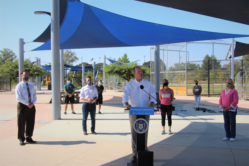 San Diego Mayor Kevin Faulconer made the announcement at Mira Mesa Community Park.