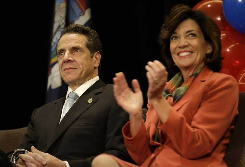 """New York Governor Andrew Cuomo and Lt. Governor nominee Kathy Hochul participate in a """"Women for Cuomo"""" campaign event in New York, Thursday, Oct. 23, 2014. Hillary Rodham Clinton is backing Cuomo in his bid for a second term. Cuomo faces Republican Westchester County Executive Rob Astorino in the Nov. 4 general election. (AP Photo/Seth Wenig)"""