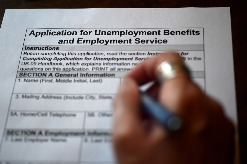 An application for unemployment benefits