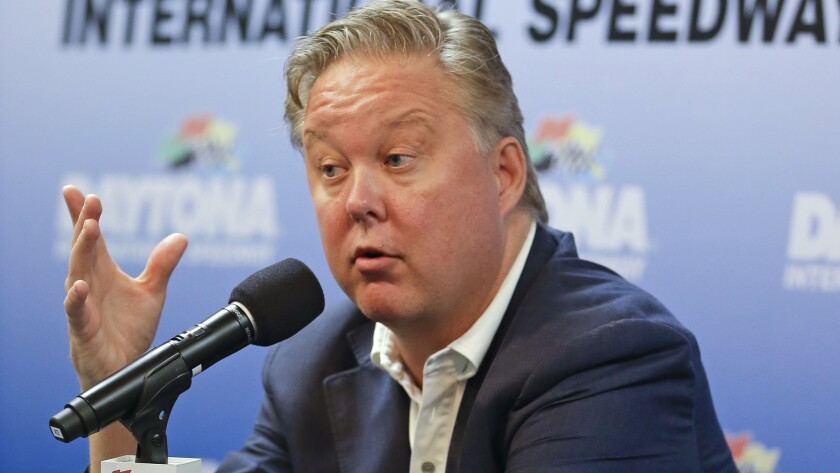 NASCAR Chairman Brian France answers questions during a news conference at Daytona International Speedway on July 5. France has implemented many changes since taking over NASCAR from his father in 2003.