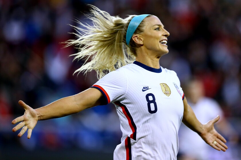 Julie Ertz celebrates after scoring against Spain in the United States' 1-0 victory in the SheBelieves Cup on Sunday.