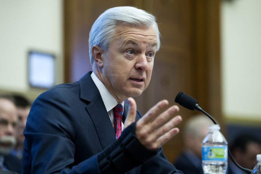 Wells Fargo CEO John Stumpf testifies on Capitol Hill before the House Financial Services Committee.
