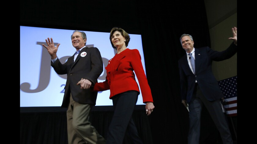 Former President George W. Bush and former First Lady Laura Bush join Republican presidential candidate Jeb Bush at a campaign rally in Charleston, S.C.