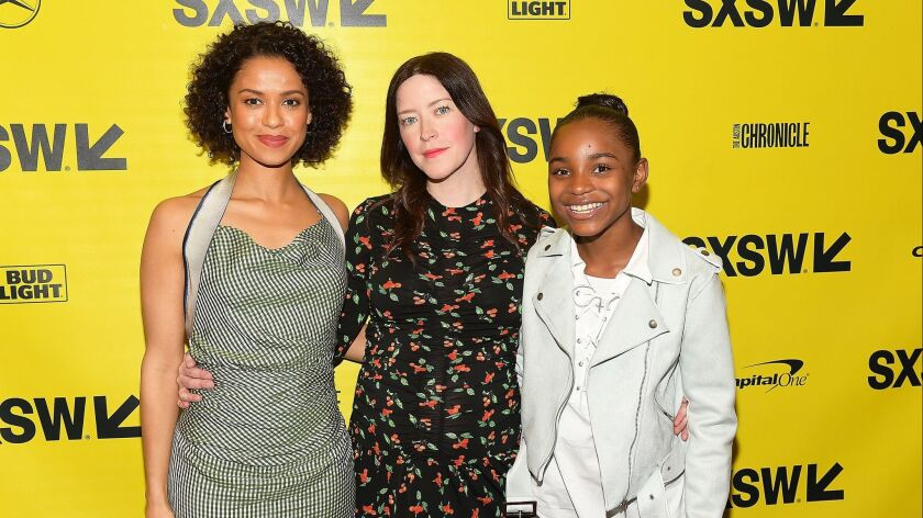 "Gugu Mbatha-Raw, Julia Hart and Saniyya Sidney attend the ""Fast Color"" premiere at the 2018 SXSW festival at Paramount Theatre on March 10 in Austin, Texas."