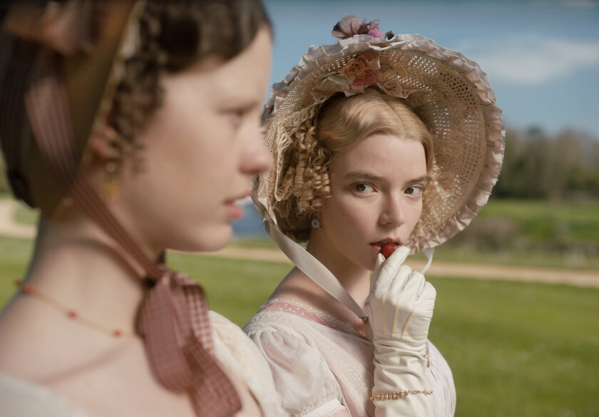 "Mia Goth as Harriet Smith and Anya Taylor-Joy as Emma Woodhouse in Autumn de Wilde's ""Emma."""