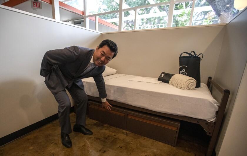 Councilman David Ryu at new Hollywood shelter